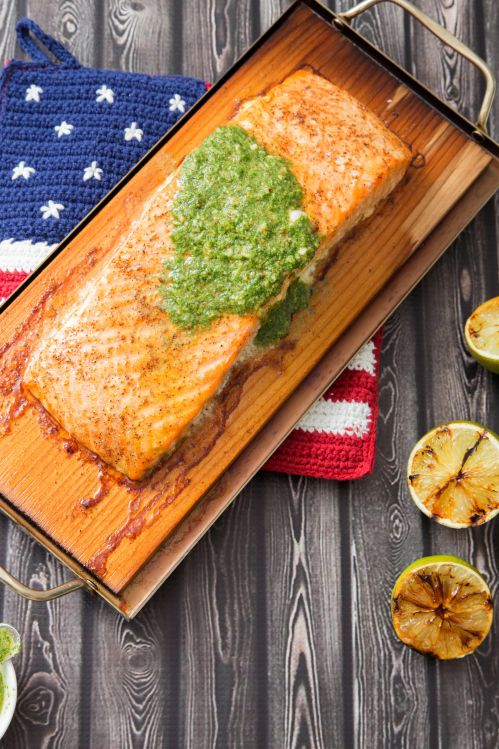 Cedar Plank Salmon with Cilantro Pesto and Grilled Lime | The Missing Lokness