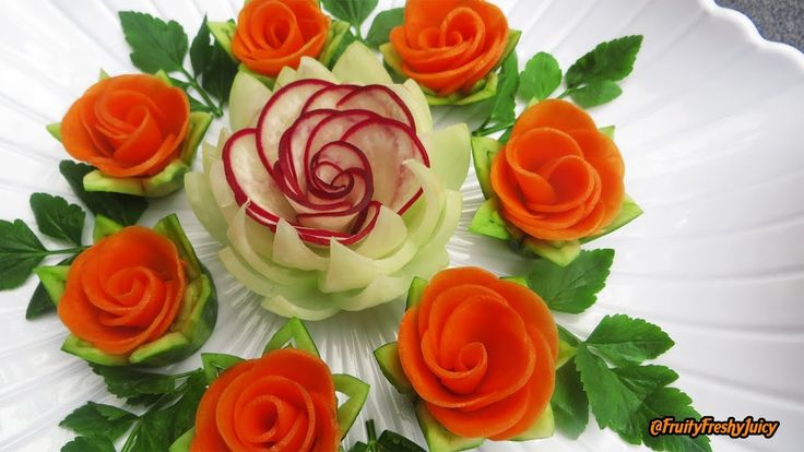 Attractive Garnish of Radish & Carrot Rose Flowers with Onion & Cilantro...