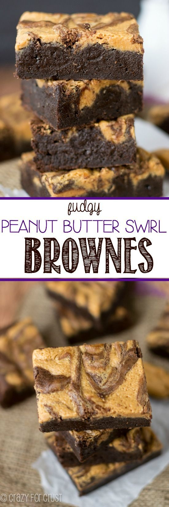 Fudgy Peanut Butter Swirl Brownies - this easy recipe is super chocolatey, super peanut buttery, and super fudgy!