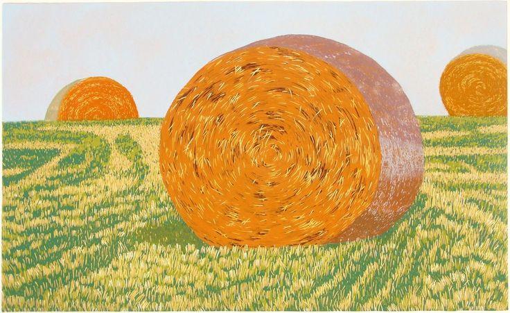 Milos Slama - Straw Bales - (linocut)