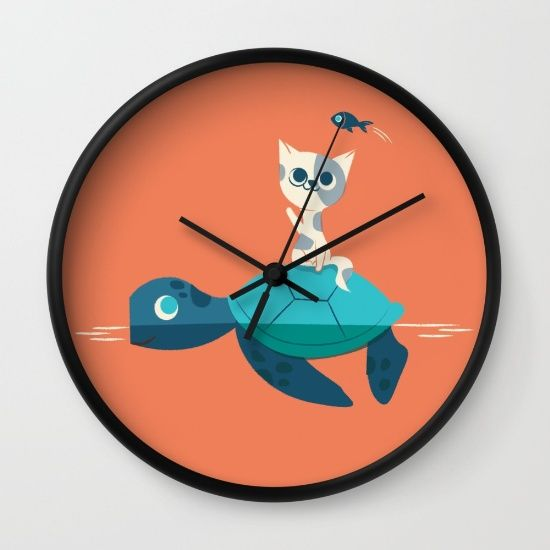 Cat+on+a+Turtle+Wall+Clock+by+Jay+Fleck+-+$30.00