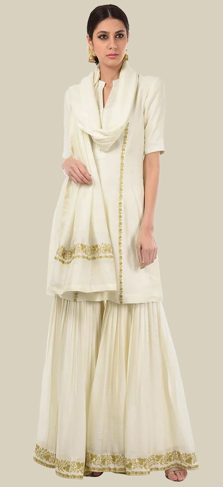Eid 2017 Collection: Ivory Gold Tilla Embroidered Fine 120 Count Cotton Gharara Suit