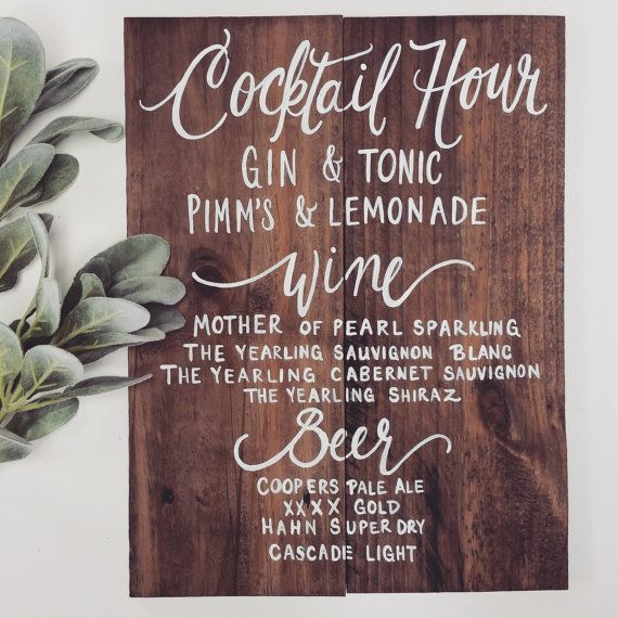 Rustic Wooden Signature Drinks Bar Sign // Signature Cocktails // Rustic Weddings