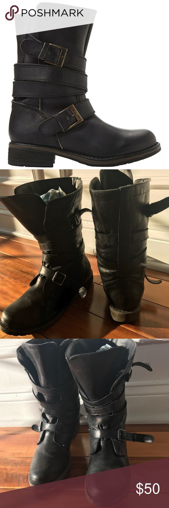 """STEVE MADDEN Kindell Leather biker boots Steve Madden leather biker boots Slips on Round toe, buckle fastening strap detail at ankle and calf, brass hardware, block heel 100% leather; synthetic lining Use specialist leather cleaner Heel height 1"""" Steve Madden Shoes Combat & Moto Boots"""