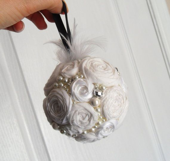 White Rosette and Rhinestone Pomander, Christmas Ornament, Decorative Ball