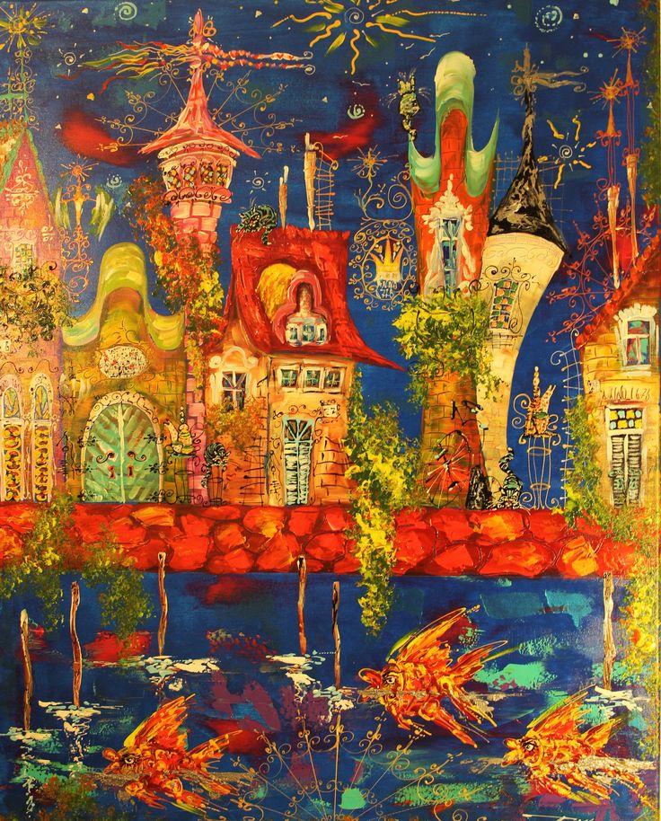70x100, akril ,,Skazka'' ,,Sprookje'' mixtechnik Painting by Tatyana Murova