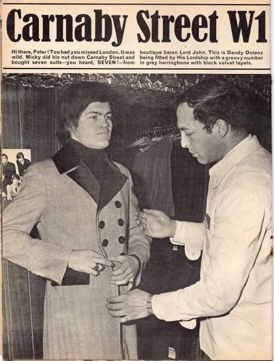 Mickey Dolenz from The Monkees being fitted by Lord John boutique baron Warren Gold, 1967