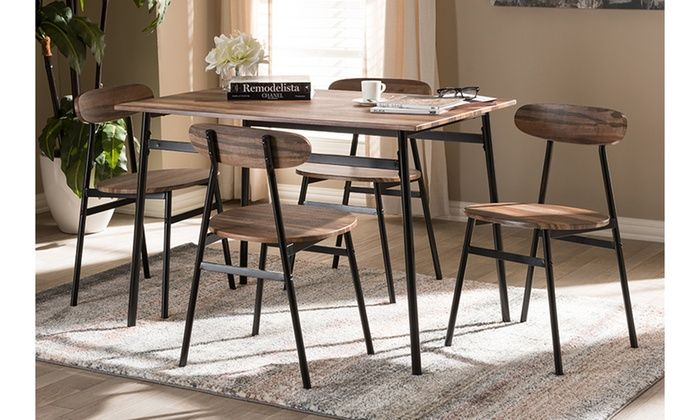 Darcia Industrial Inspired Dining Set 5 Piece Industrial Dining Sets 5 Piece Dining Set Dining Set
