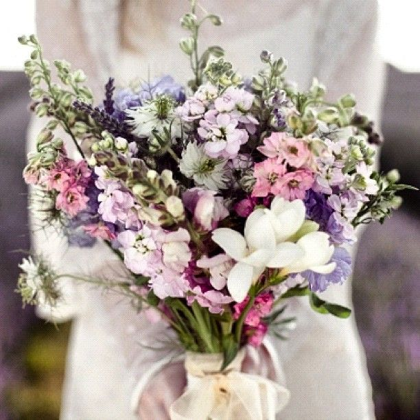 Wild flower bouquet -- with yellow and blue flowers