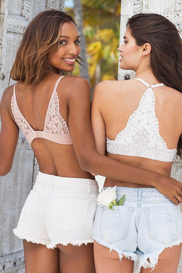Back at it in cutoffs & lace.   Victoria's Secret