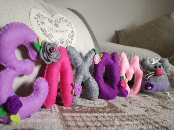 Nome feltro ghirlanda topolino rose idea regalo fioco nascita Kids room neonato baby