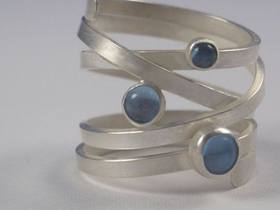 Sterling Wrap Around Ring with Gemstones by donnaOdesigns on Etsy, $165.95