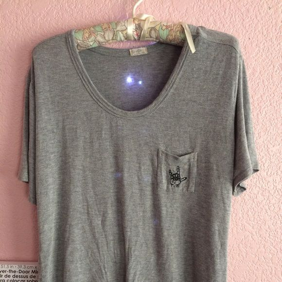 Brandy Melville rock n roll embroidered shirt excellent condition, worn once Brandy Melville Tops