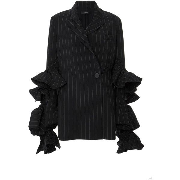 Ellery     Perfect Pitch Ruffled Blazer (€2.215) ❤ liked on Polyvore featuring outerwear, jackets, blazers, stripe, ruffle jacket, blazer jacket, ruffle blazer jacket, ruffle blazer and single breasted jacket