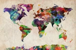 Watercolour map of the world.