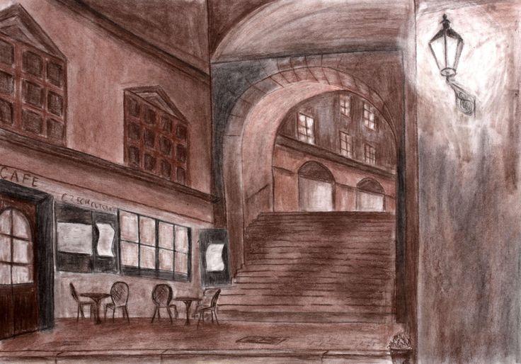 Night Street in Sepia, Original Art Print, Cityscape, Wall Decor, Print…