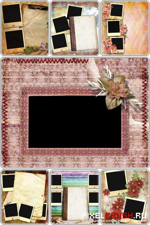 Красивые цветочные под старину рамки для фотографий - Растровый клипарт