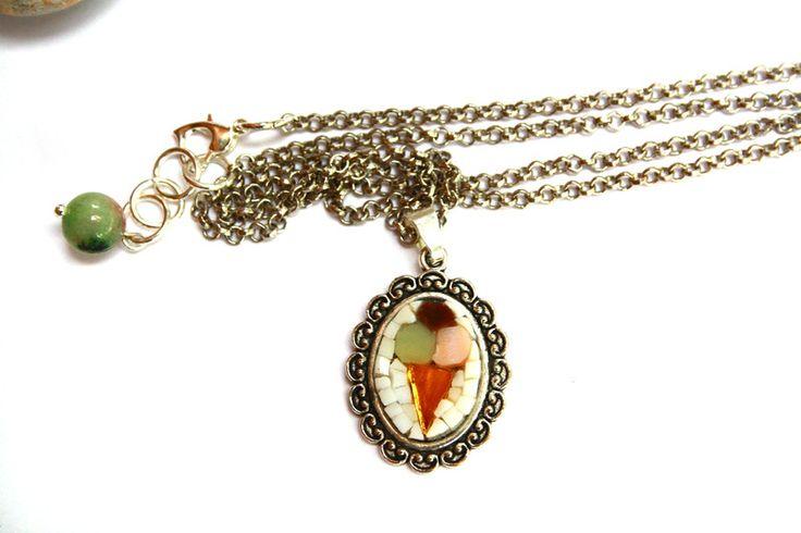 Collane con pendenti -  Gelato / collana con pendente / micromosaico - un prodotto unico di muse-withlove su DaWanda