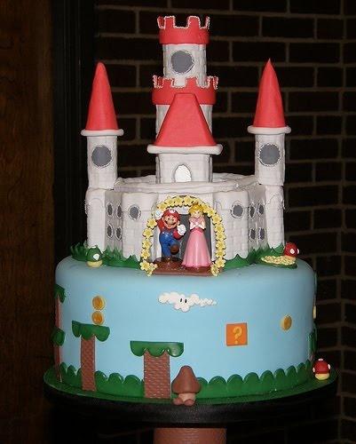 Reese birthday cake idea. Mario and Princess Peach Cake.