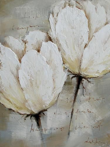 floral art - love the texture and the many shades of white and gray