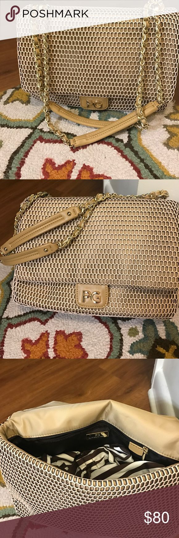 Purificación García Gold Shoulder Bag! NWT! Purificación García NWT shoulder bag with gorgeous knit outside. Strap can be worn Crossbody or over the shoulder. One inside zip pocket. Approx. 8in tall x 12in. Wide x 4in. At its widest. Bags Shoulder Bags