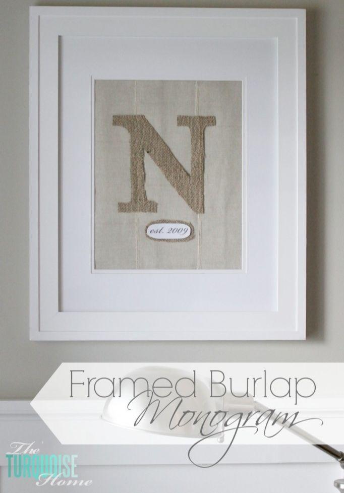 DIY Framed Burlap Monogram | TheTurquoiseHome.com #diy #burlap