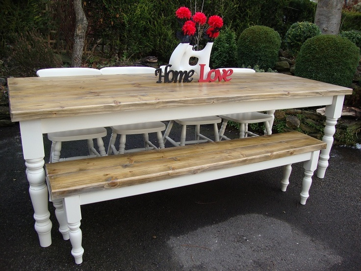 Solid Pine Table Including, Top, Legs And Skirt. * 2u201d Thick