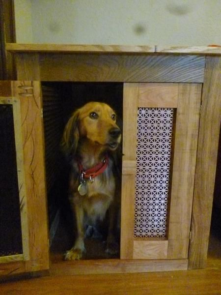 Storage Furniture Repurposed Into A Dog Crate Caring For