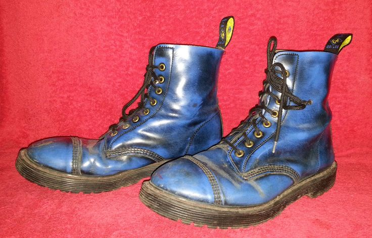NPS 90s Vintage BLUE BOOTS MADE IN England PUNK SKINHEAD Mens SIZE 12 UK / 13 US #NPS #Boots