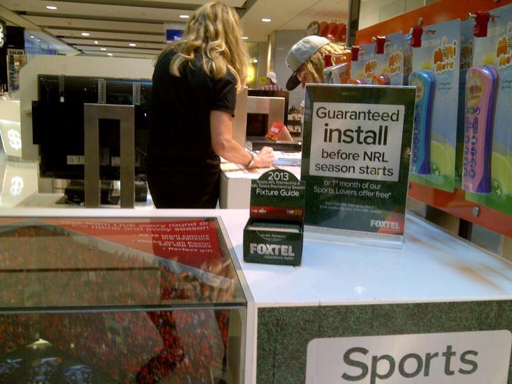 Foxtel Kiosk with Footy Fixture Z-CARDs