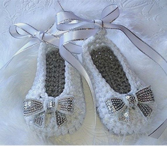 White and Silver Crochet Baby Girl Booties