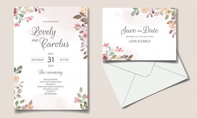 Wedding Invitation Card With Beautiful Floral Watercolor In 2021 Wedding Invitation Cards Elegant Wedding Invitation Card Wedding Invitations Stationery