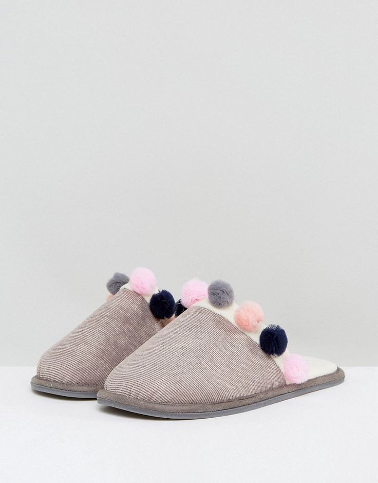 Carvela PomPom Trim Slipper - Gray
