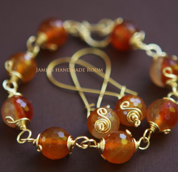 My Valentine Jewelry Candy Carnelian Gemstone by JamiesQuilting, $12.00