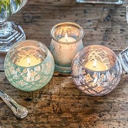 Large Glass Globe Votive Candle Holder With Reflective Lace Pattern (4 Color Options)