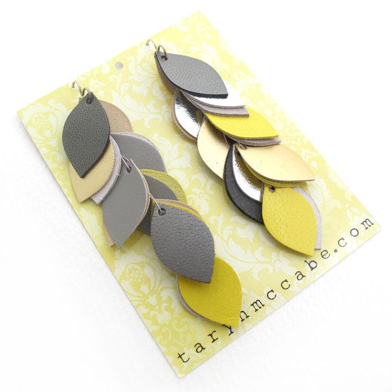 Yellow and Grey Leather Cascade Earrings by tomgirl on Etsy, $68.00