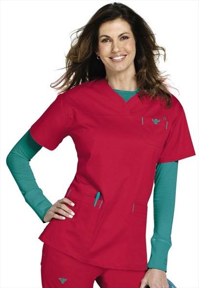 Medcouture by Peaches EZ Flex sport neckline scrub top. Mint color, not raspberry.