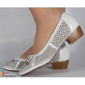 Pantofi perforati albi office dama/dame/femei (cod 16-028409)