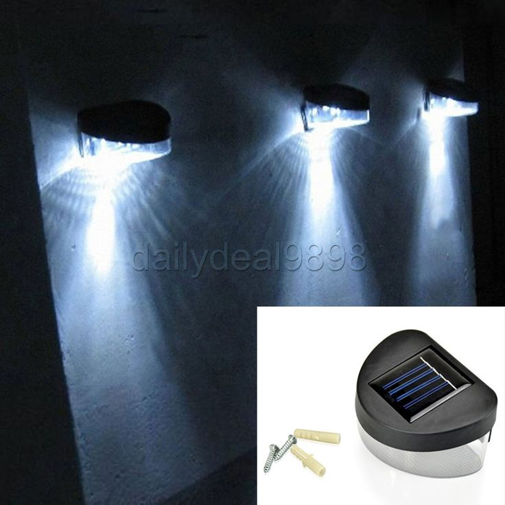 outdoor solar powered led path wall landscape mount garden fence light