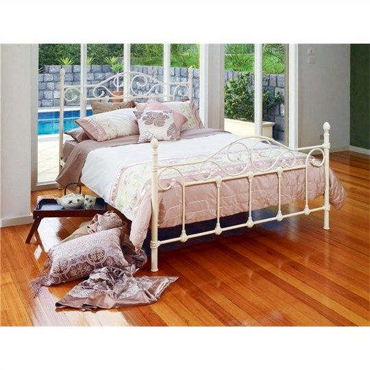 Avont Metal Double Bed - Antique Ivory - Beds - Bedroom