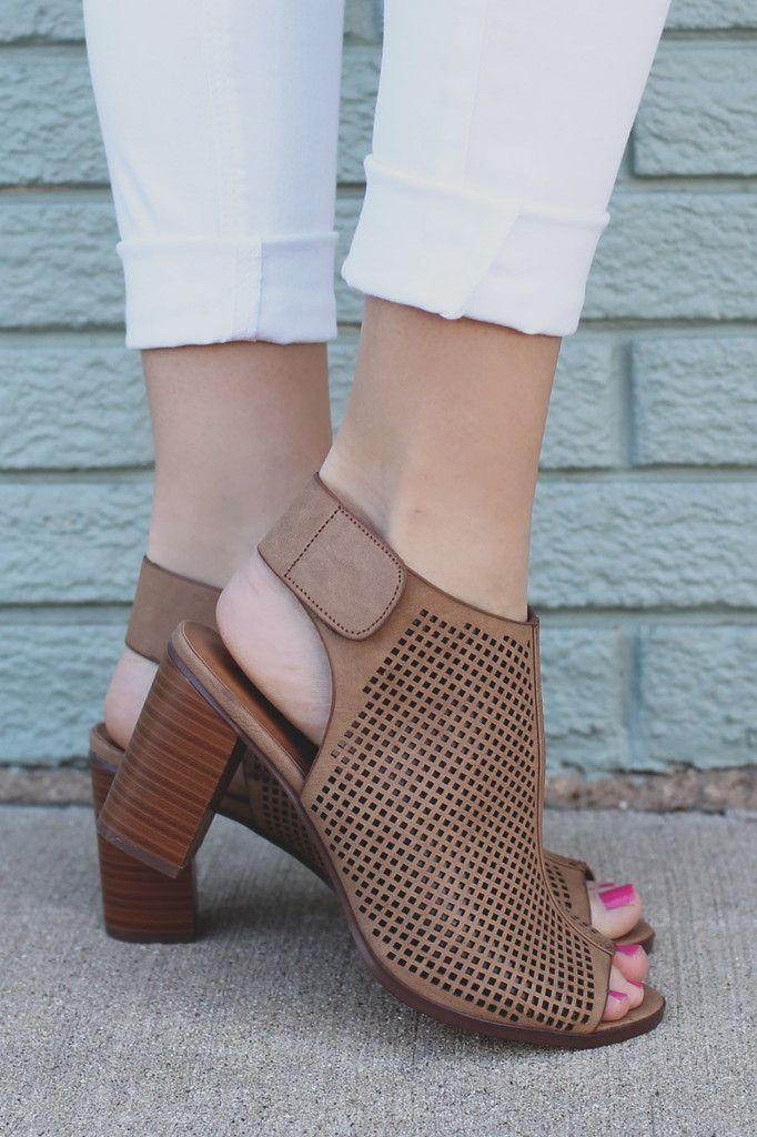 Tan Peep Toe Perforated Detail Heels roadway-H