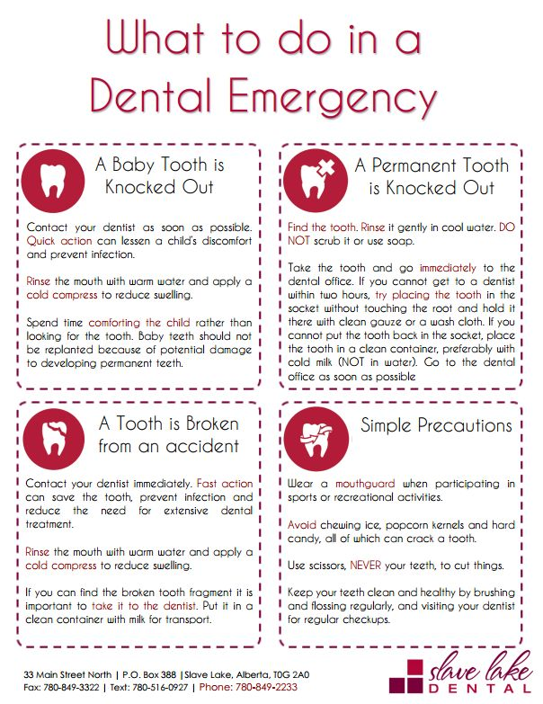 Do you know what to do in a Dental Emergency? Check out our blog post for a free printable guide and more information --> http://www.slavelakedental.ca/dental-emergency/  Slave Lake Dental