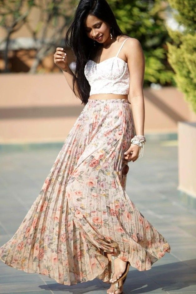 @roressclothes closet ideas #women fashion Floral Outfit Idea with Pleated Skirt