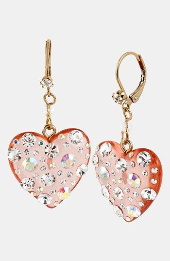 Betsey Johnson Crystal Heart Drop Earrings available at #Nordstrom For Betsey Johnson fans