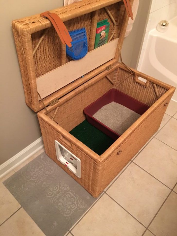 Portable Cat Home Made From Simple Wicker Chest Diy