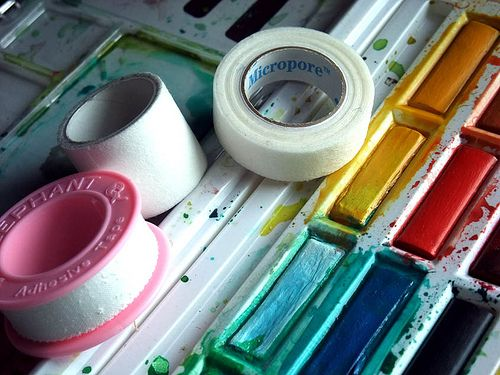 Make your own decorative masking tape! Use cloth tape, tape to wax or freezer paper, design tape.