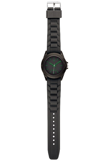 Part of Tees' first colours collection, this all black watch has a black case, dial and strap. The green branding, hands and indices provide the contrast in this watch.