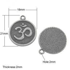 Tibetaans zilveren Ohm of Om bedel 21 x 18 x 2mm ॐॐ Het Ohm symbool staat voor eeuwigheid, oneindigheid en het universum. Dit symbool zou als oorsprong worden gezien voor alle gebeden en mantra's.