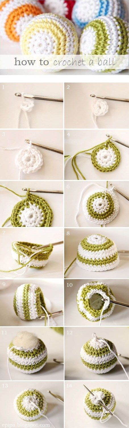 How to crochet a ball: Crochet Ideas, Crochet Ball, Crochet Patterns, Christmas Ornaments, Hacki Sacks, Cat Toys, Crochet Knits, Diy Crochet, Crafts