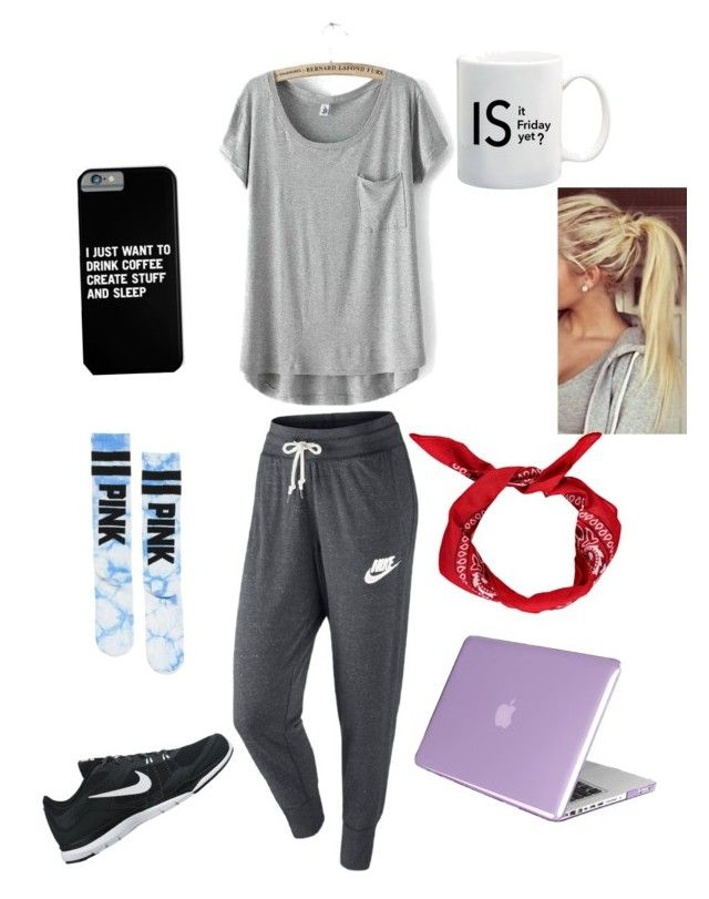 """""""Lazy Day"""" by kabass ❤ liked on Polyvore featuring NIKE, Victoria's Secret and Insten"""